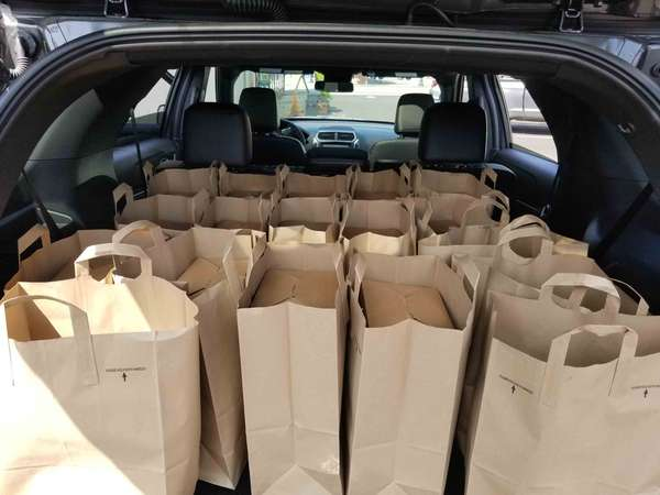trunkful of boxed lunches