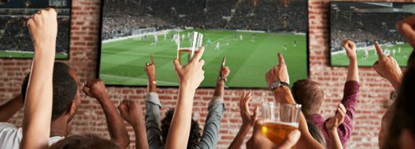 People cheering while watching football game on TV
