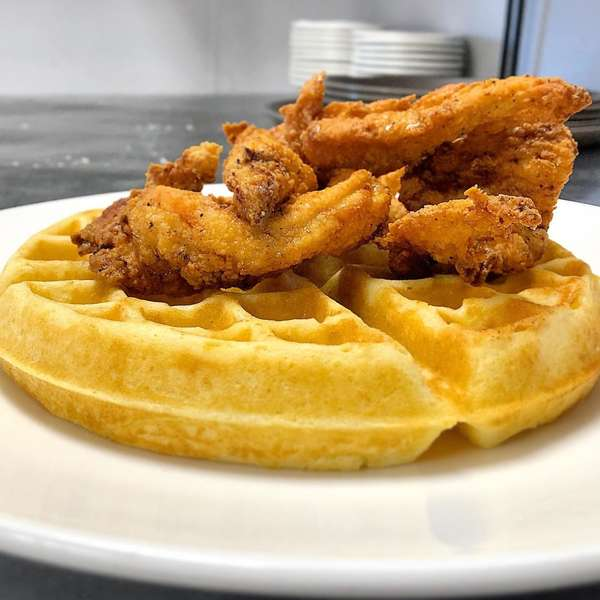 Crispy Buttermilk Fried Chicken & Waffles
