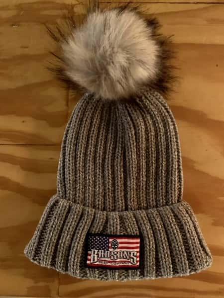 Americana Logo Grey Winter Pom Hat