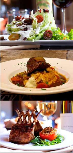 BLT Wedge Salad, Braised Boneless Beef Short Ribs, Mashed Potatoes, Carrots & Pearl Onions, Cabernet Reduction on a white dish, and 8-bone New Zealand Rack of Lamb and glass of white wine