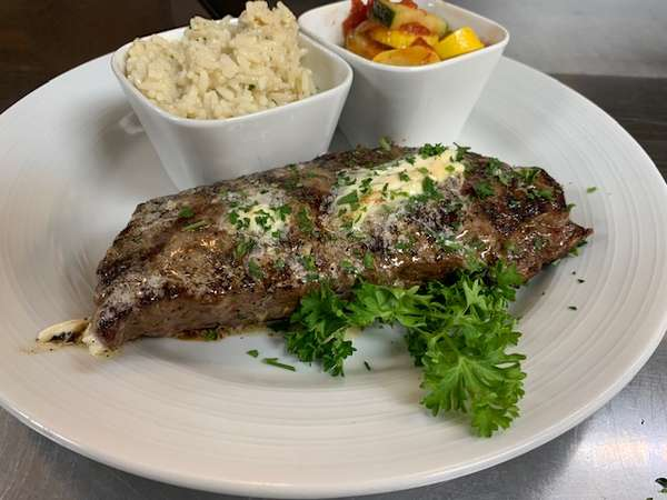 Sirloin with roasted garlic butter