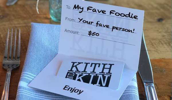 gift certificate with text To: my fave foodie From: Your fave person! Amount $50