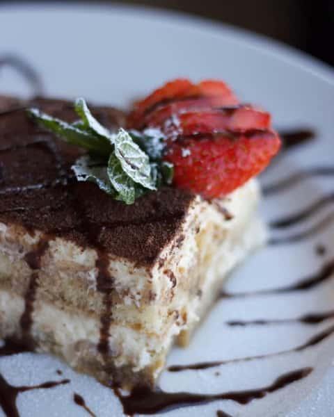 Tiramisu: Espresso-dipped ladyfingers and a creamy lightly sweetened mascarpone cream
