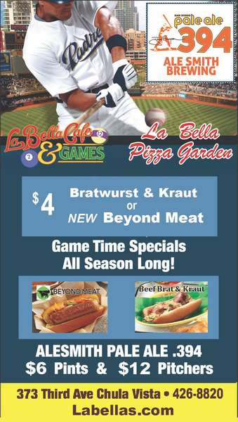 Padre Game Time $4 Bratwurst & Kraut & Beyond Meat Dogs & Ale Smith 394 $12 Pitchers