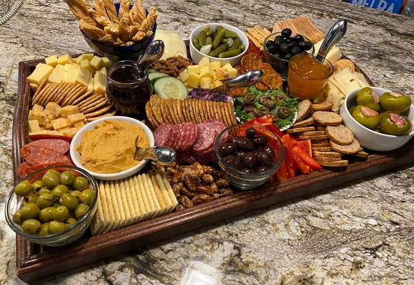 Cheeseboard on wooden tray
