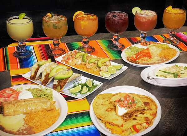 Mexican foods and margaritas
