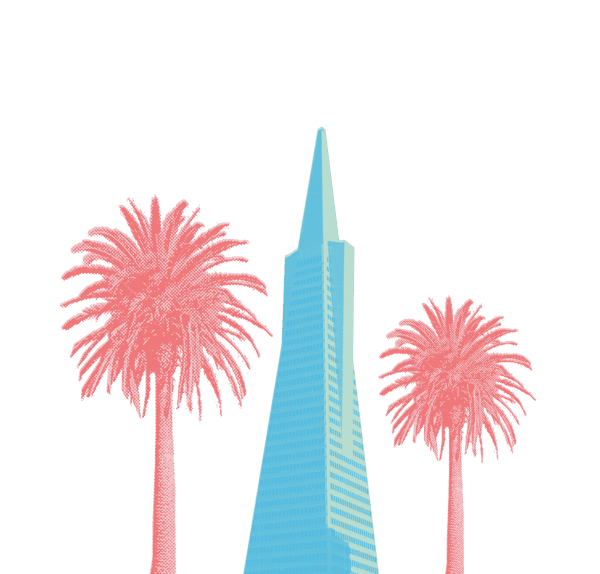 sky scraper with palm trees illustration