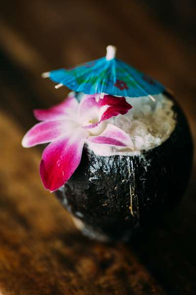 Tropical beverages in coconut