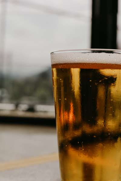 Close up of a beer glass