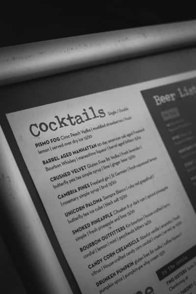 Paper cocktail menu