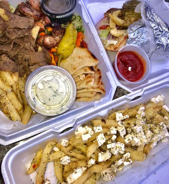 Lamb/Beef Platter, Greek Fries, Lamb/Beef Gyro Pita