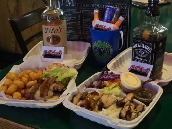 Tito's, Jack Daniels, burgers, fries