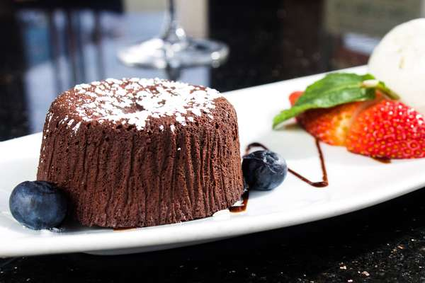 Lava Cake with Ice Cream and Berries