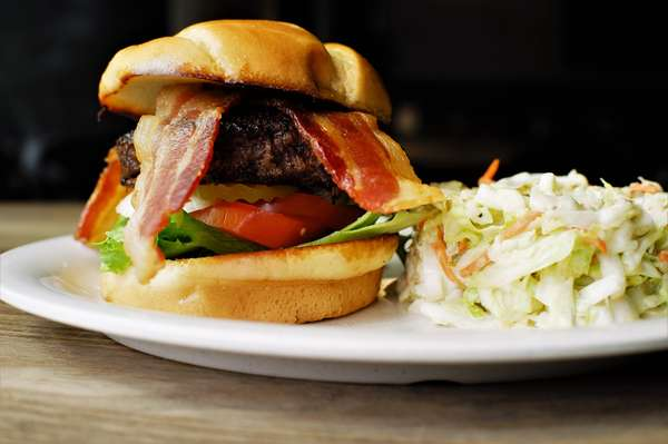burger and coleslaw