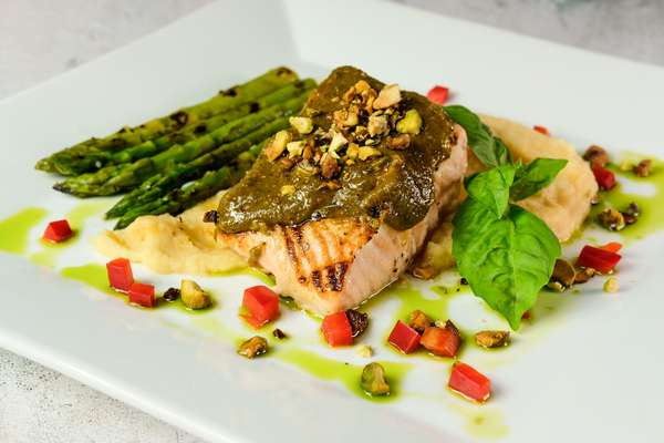 Grilled Salmon with Pistachio Basil Butter