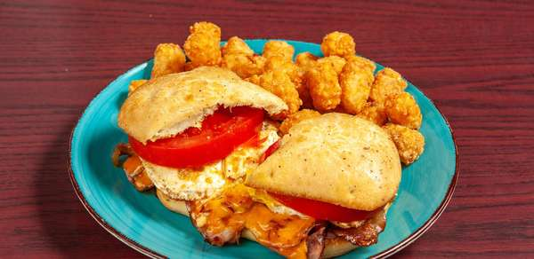 sandwich and tater tots