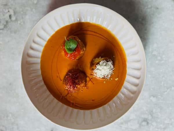 Paneer Kofta , Apricot Chili Jam, Red Pepper Gravy