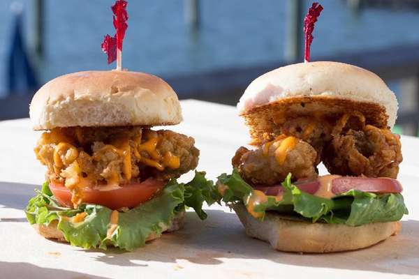 Two fried chicken sandwiches