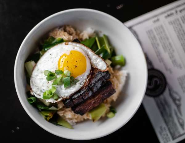 bowl of food with egg