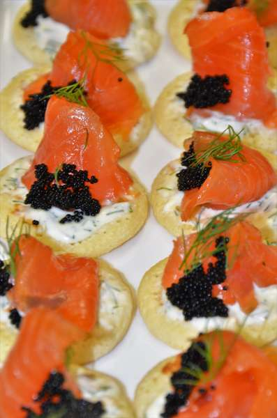 Smoked Salmon Canapes with Caviar