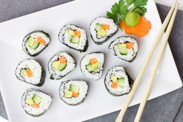 sushi pieces on plate