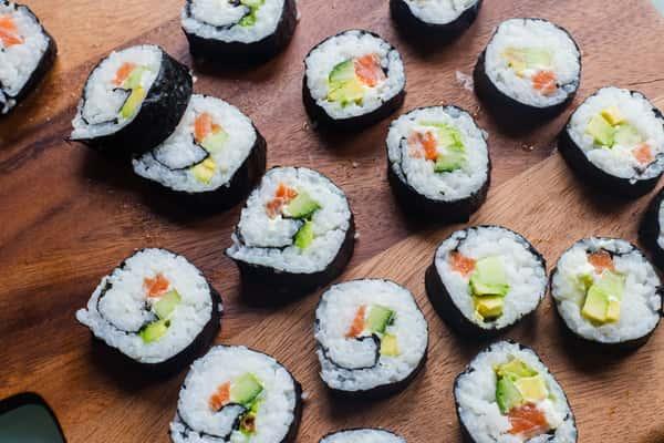 sushi laying down