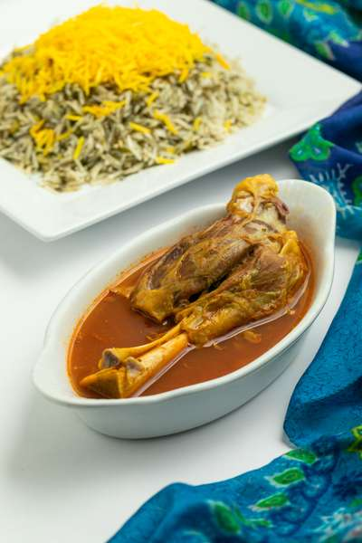Baghali polo with Lamb Shank