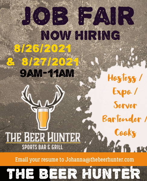 Now Hiring join us August 26th and 27th for our job fair