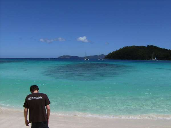 I was on vacation in St. John in the Virgin Islands and my mom took this picture of me, unbeknownst to me I was wearing my Red Pepper shirt!