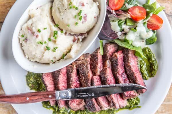 salad and steak