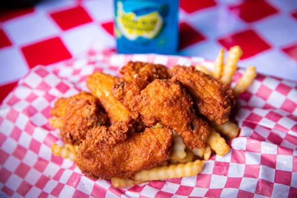 6 Zesty Hot Wings & Fries