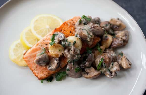 Atlantic Salmon in a Funghi Sauce