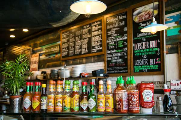 interior shot of sauces lined up