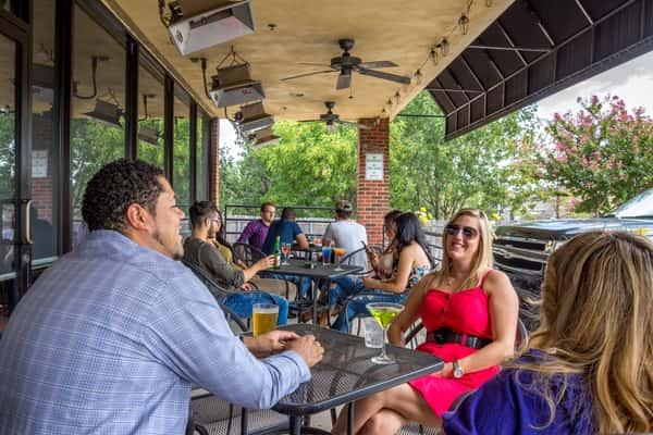 customers enjoying patio area