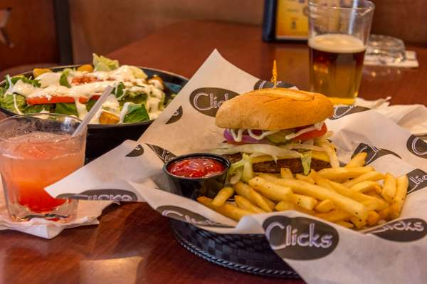 burger, salad and cocktail