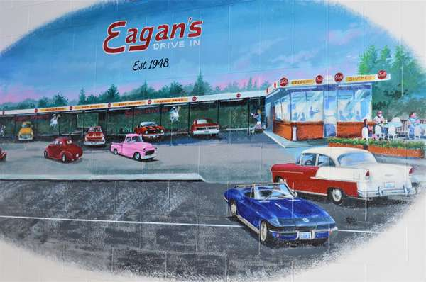 mural of cars and eagan's