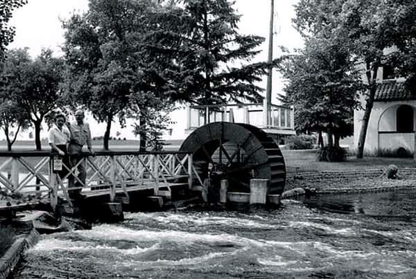 Bridge and waterwheel