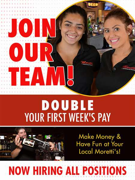 Join our team double your first week's pay flyer