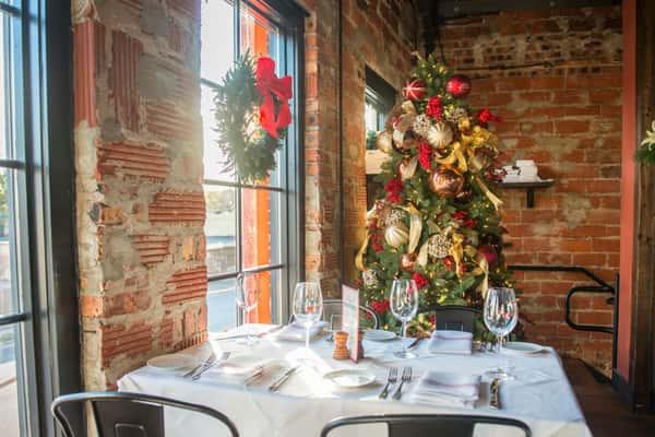table and christmas tree