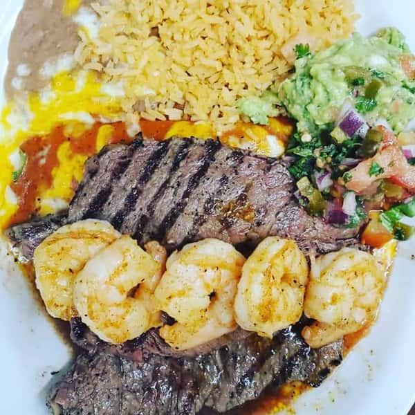 Carne Asada dinner w/shrimp