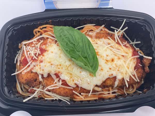 Chicken Parm Over pasta