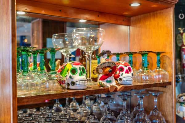 decor and margarita glasses
