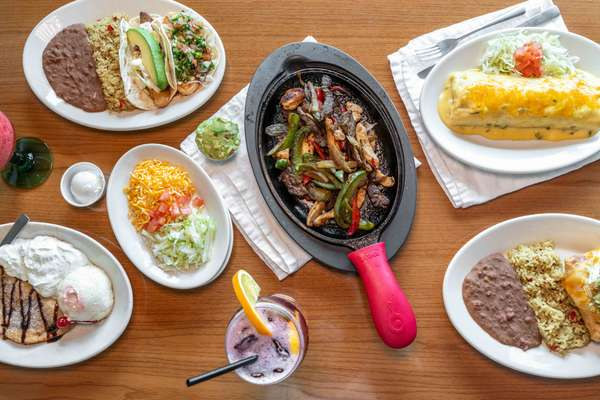variety of dishes and fajitas