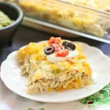 Chicken Enchilada Bake with Salsa Verde