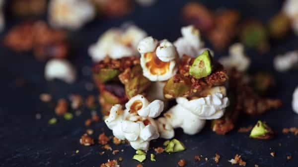Gourmet Popcorn with Sesame Glazed Pistachios