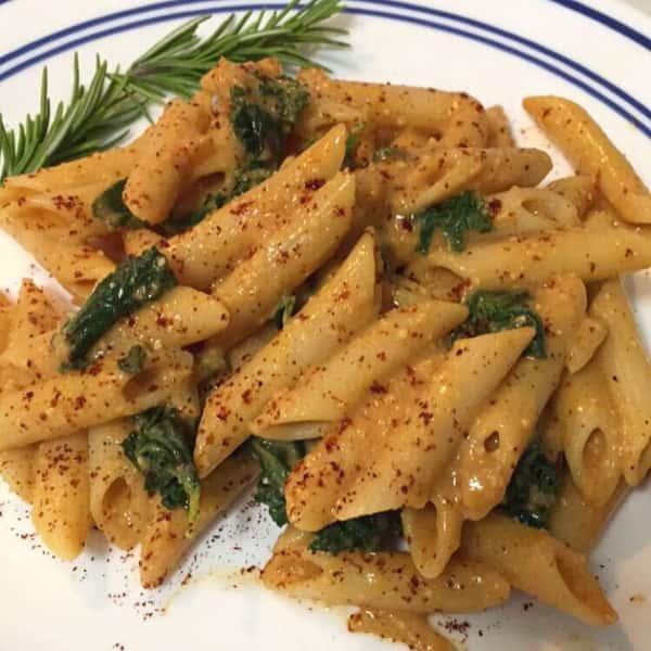 Spicy & Creamy Kale Pasta