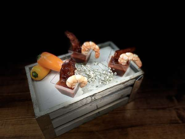 Bloody Mary Shrimp w: Candied Bacon