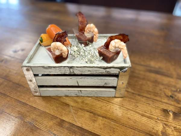 Bloody Mary Shrimp w: Candied Bacon 1