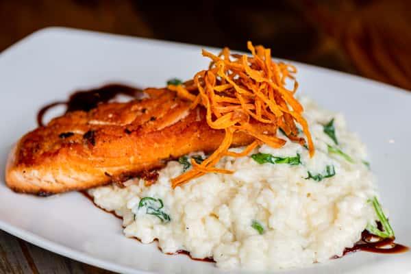 Pan-Seared Salmon & Spinach Risotto